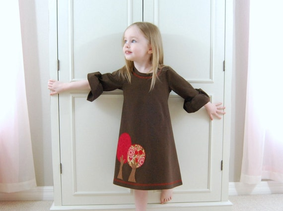 Autumn trees jersey knit dress in chocolate brown (size 12M, 18M, 2T, 3T, 4T, 5T, 6)