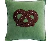 Pretzel Pillow - fleece and felt