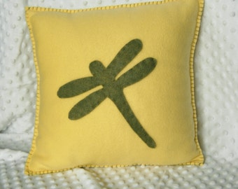 Dragon Fly - Soft Dragonfly Throw Pillow made in fleece and felt. Great gift or just because for home decoration.