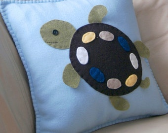 Fleece Turtle Pillow - Super cute soft throw pillow for baby room, nursery, boy or girl room and home decor. Birthday gift or just because.