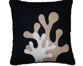 Felt Amoeba Pillow - Island inspired pillow in Black or Brown, great gift or home decoration.