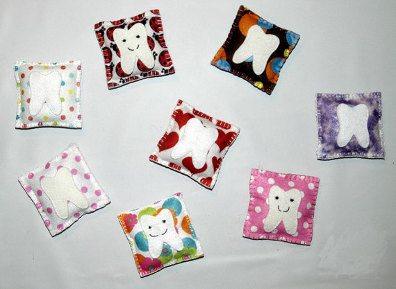 Tooth Fairy Pillow - Patterned Pillows, Fun, Funky and Colorful little pockets for boy's or girl's lost teeth and treasures.