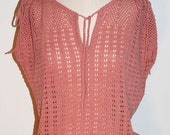 FEMININE ANTIQUE ROSE POINTELLE SLEEVELESS SWEATER