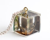 Miniature Resin Cube Pendant Necklace on silver chain - Library with Carpet Floor