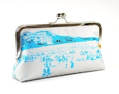 Bondi Beach clutch in turquoise and oyster grey