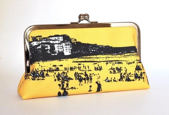 Clutch purse with North Bondi scene on yellow