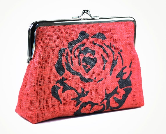 Red hemp purse with rose