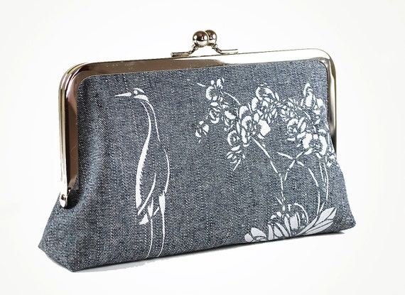 Denim clutch bag with Brolga and Orchids