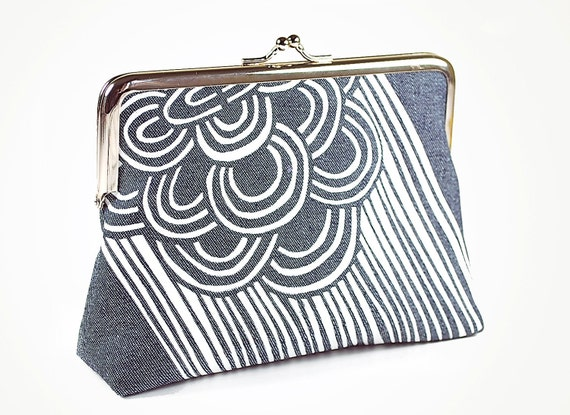 Denim kiss lock purse with mid-century styled screenprint pattern