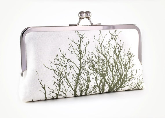 Clutch bag with tree silhouette in green
