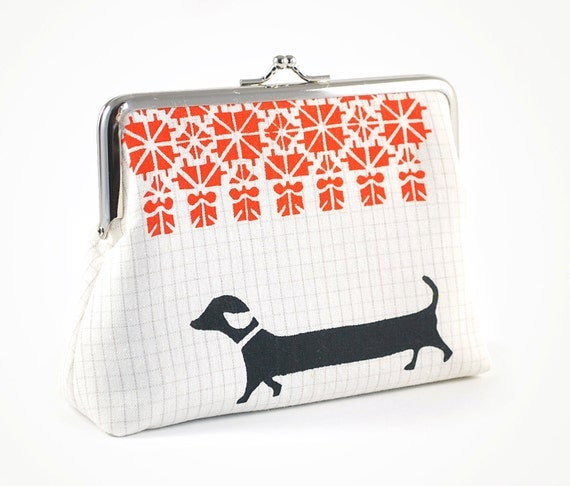 Purse with dachshund and folk pattern