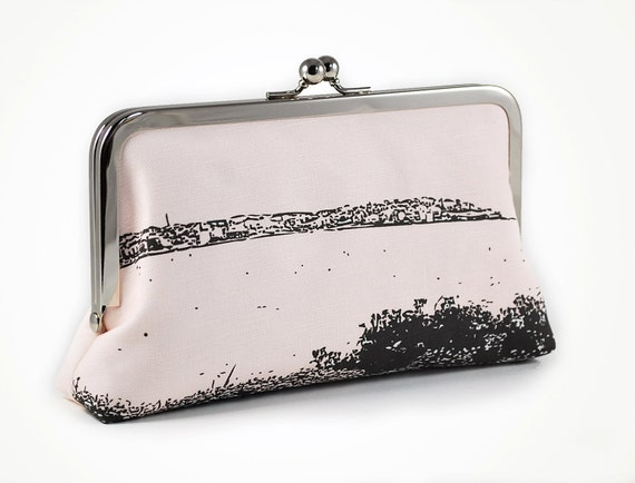 ON SALE - Was 70 now 50 - Pale pink clutch with North Bondi silhouette