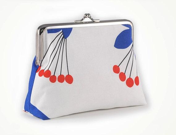 Cute kiss lock purse with Marimekko style cherry tree and 6 inch frame