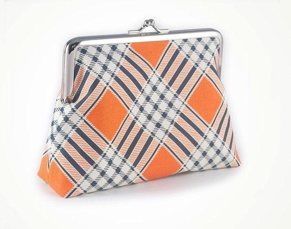 ON SALE Was 45 now 30 Tangerine plaid clutch purse