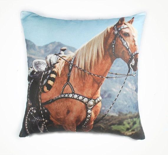 """Retro horse cushion 17"""" x 17"""""""