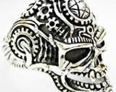 The Reaper MACHANIC GEARS Satan devil skull the angel of death ring solid sterling silver 925