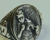 vintage JOE LOUIS boxing 1940's sterling silver Ring