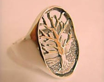 Sterling Silver 925 Tree of Life hand-made 60s model ring ALL SIZE AVAILABLE