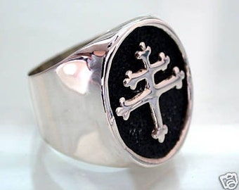 Cross Of Lorraine Magnum PI Team Ring - Sterling Silver 925