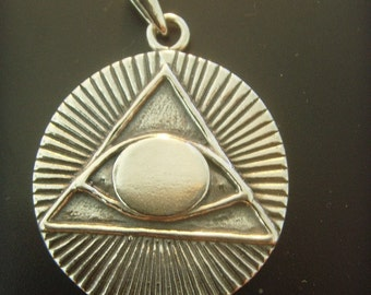 ALL SEEING EYE  pyramid masonic symbols pendant sold sterling silver 925