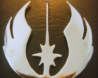 Handmade Star Wars Jedi Order  Insignia on wood Rebel  pendant sterling silver 925