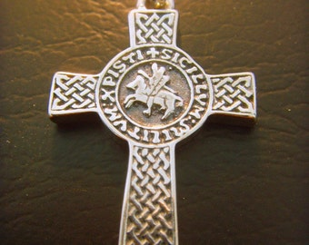 SOLID STERLING SILVER 925 cross masonic Knights Templar Seal pendant