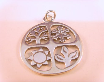 "Sterling Silver ""Four Seasons Charm pendant"