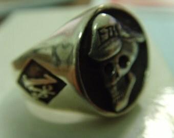 1percent er FTW outlaw skull sterling silver solid 925 ring HARLEY BIKER