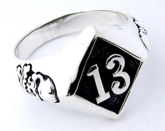 1%er outlaws no 13 silver sterling 925  biker ring skull