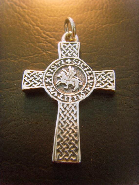 SOLID STERLING SILVER 925 cross masonic Knights Templar Seal pendant