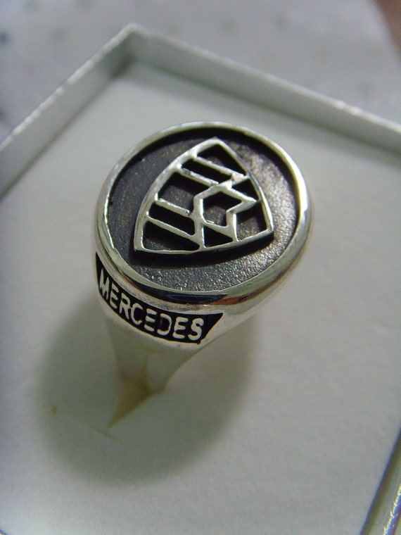 Solid sterling silver 925 mercedes benz maybach zeppelin ring for Mercedes benz ring