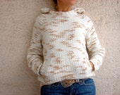 Hooded Wool Sweater , Blended Beige Cream, Hand Knit