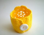 Crochet Lace Cuff Wrist band in Yellow
