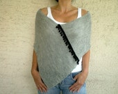 Grey Chunky Poncho with Pom pom Fringe, Holidays Christmas Gift for her