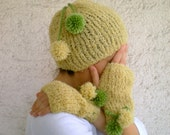 SALE % 25 off Women Hat and Gloves Set  with Pom Pom, Yellow Green