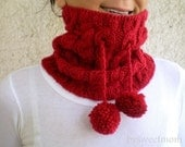 Pom Pom Hat Neckwarmer, Cable Knit Hat, Red Hat, Unisex Cowl, Gift for her, Gift for him