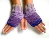Wool Blended Purple Pink Fingerless Gloves