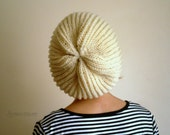 Cream Slouchy Hat, Knit Hat, Winter Hat, Winter Accssories