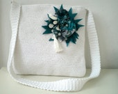 Crochet Messenger Bag with Teal Green Brooch