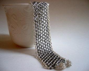 SALE % 25 off Sparkling Beaded Bracelet, Silver Gray Golden