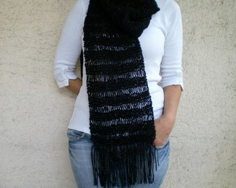 SALE % 25 off Black Scarf, Women Scarf, Long Scarf