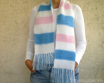 SALE % 25 off Striped Scarf in Pink White Blue