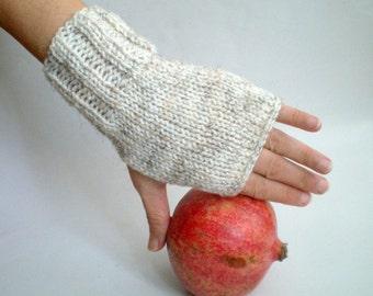 Fingerless Gloves Knitted Mittens Blended Oatmeal Wool Gloves