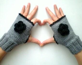 Gray Fingerless Gloves with Crochet Flowers, Winter Gloves
