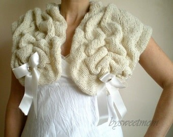Ivory Bridal Stole with Satin Ribbon, Wedding Shawl Shrug Wrap