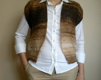 SALE %25 off Women's Knit Brown Vest
