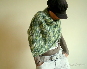 Green Shawl, Wool Shawl, Womens Scarf Neckwarmer Shoulder Wrap