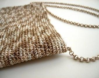 Golden Crochet Bag, Cross Boddy Bag with Metallic Chain