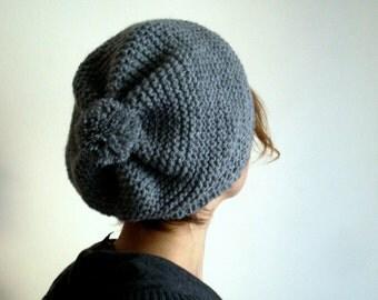 Gray Slouchy Hat, Pom Pom Hat, Unisex Hat, Knit Hat