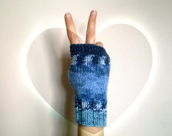 Blended Blue Fingerless Gloves, Knit Women Mittens with Silver Sparkles